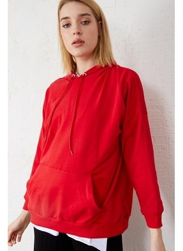 EKA Kapişonlu Uzun Kol Sweatshirt Kırmızı
